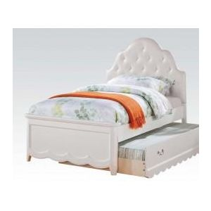 Cecilie White/ Light Pink PU Full Bed